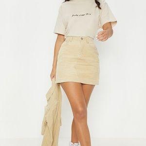 PrettyLittleThing Stone Jumbo Corduroy Skirt